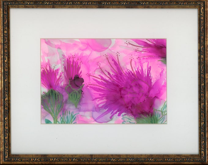 Original Alcohol Ink 5x7 Painting in 9x11 copper frame abstract air brush art one-of-a-kind fluid art large vibrant pink and green flowers