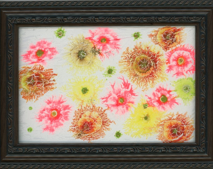 Original Acrylic Ink Painting framed 5x7 abstract multi colored fractal art desk size one-of-a-kind happy art crystal random colorful shapes