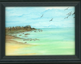 Watercolor New Plein Air Framed Original Hand Painted Landscape Signed Not A Print ArtByLeClaireDesigns Beach Art Bay Seagulls Caribbean