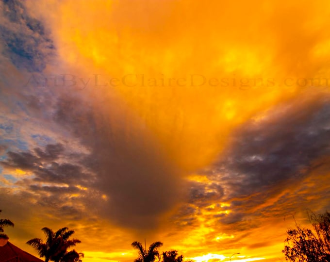 Inferno.  Photoshop altered clouds in the sky.  Orange brilliant sunrise.  Glowing clouds Artbyleclairedesigns Photography Print Landscape