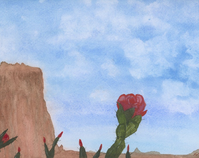 Watercolor New Original Painting 9x12 Desert Cactus Red Flower Mesa Big Blue Sky Red Flower Buds Mountain Fluffy White Clouds Not a Print