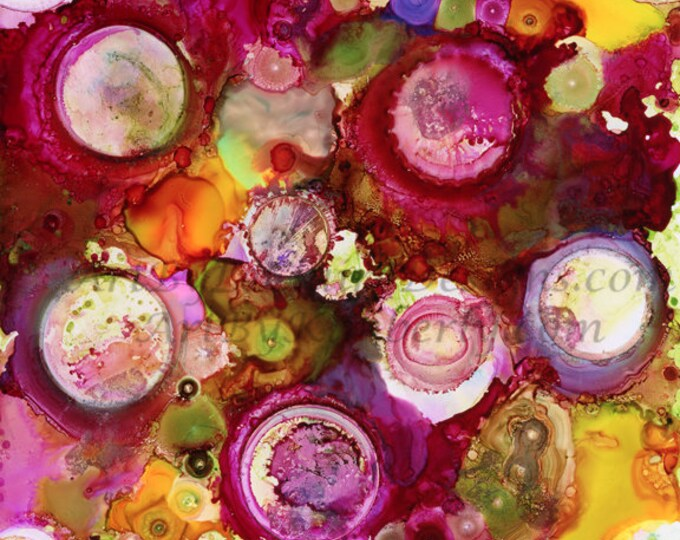 Alcohol Ink Random Circles - Downloadable Art Print - High Resolution - Hand Painted Square File Red Pink Colored Abstract Airbrush Rainbow
