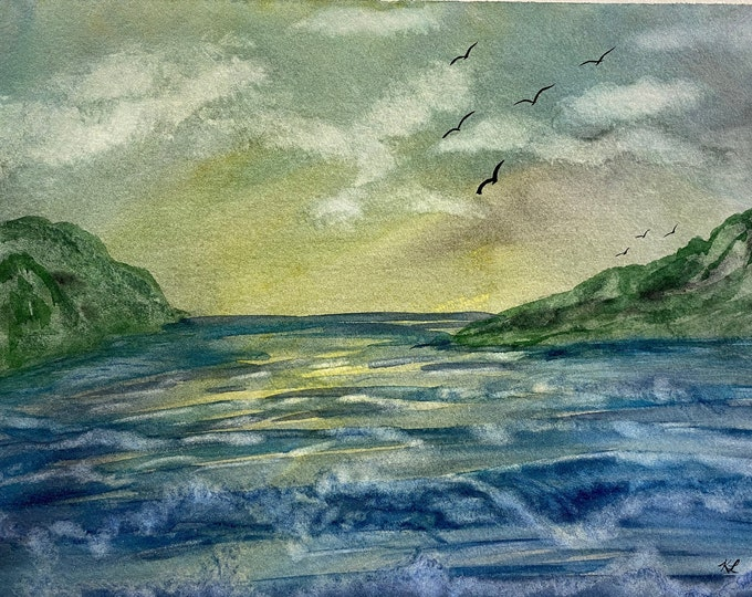 Foggy Cove original watercolor one of a kind 9x12 landscape soaring birds morning sky ocean waves hand painted beach fluffy clouds pink sky