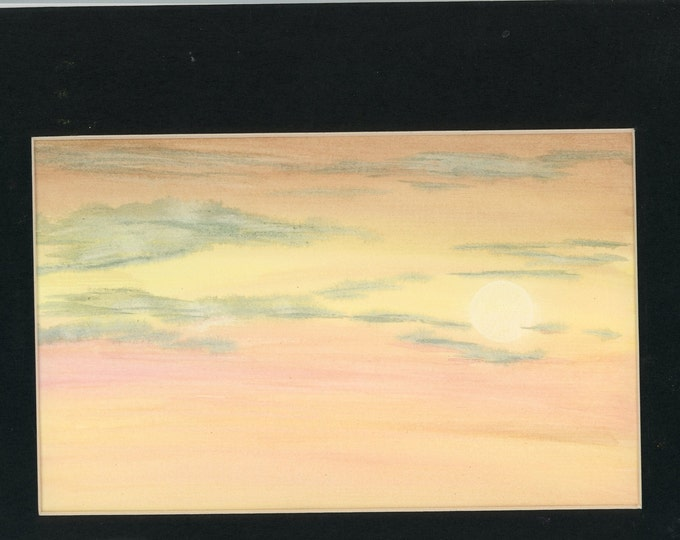 Glowing Bright Colorful Watercolor Sunset Sun New Original New LeClaire Hand Painted Not Print ArtByLeClaireDesigns Black Mat 8.5x11 yellow