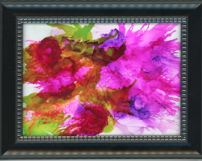 """Original Acrylic Ink Painting ArtByLeClaireDesigns 6.5x8.5 framed abstract air brush art desk size one-of-a-kind 5x7"""" pink purple green"""