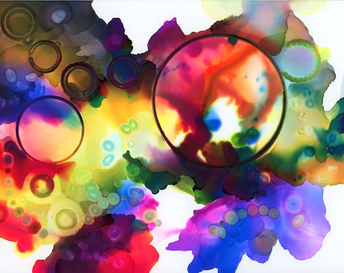 Alcohol Ink Rainbow and Circles Painting 8x10 one-of-a-kind ArtByLeClaireDesigns unframed abstract fluid flow art splash blue yellow red