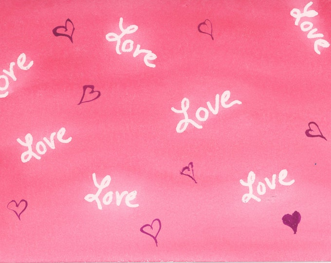 Love in the Mail New Watercolor Postcard 4x6 Artbyleclairedesigns. New Painting FrontBright Pink Melted Abstract Post Card Love Blank Back