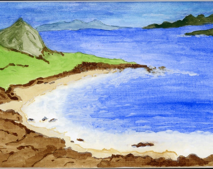 Seaside Hawaii Cove Watercolor New Original LeClaire Hand Painted Not A Print ArtByLeClaireDesigns Black Mat 8.5x11 Ocean Water Rocks