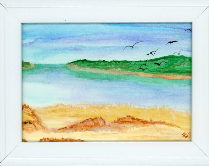 Watercolor New Plein Air Framed Original Hand Painted Turtle Bay Caribbean Not A Print ArtByLeClaireDesigns Turquoise Ocean Water Birds