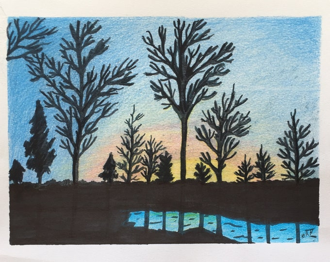 Minnesota Sunset Painting one of a kind art 8x10 inches original new senior artist soft blue and black colored sunset yellow red Mixed Media