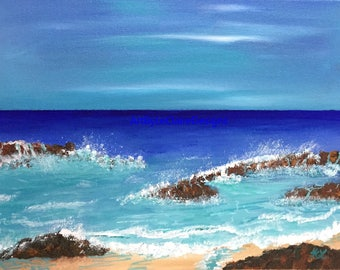 Caribbean Shore - Print of an original LeClaire acrylic painting on fine art paper -  using a professional grade printer