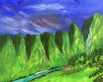 Honeymoon Destination Original Acrylic Painting Wrapped Canvas 16 x 12 - vibrant green mountains with river, bright blue sky - landscape -