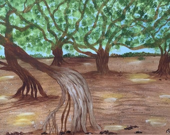 Banyan Tree 11x15 Hawaii Watercolor Original New Art Vacation Scene LeClaire hand painted Not a Print ArtByLeClaireDesigns Soft Peaceful