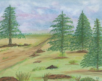 Country Roads Watercolor and pastel large pine trees landscape 9x12 hand painted emerging artist original ArtByLeClaireDesigns Not a Print