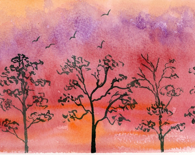 5x7 Sunset Silhouette new original watercolor black trees landscape purple red orange sky not a print hand painted brilliant red dawn sky
