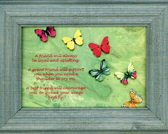 Best Friend Original Poem Framed Butterfly Print ArtByLeClaireDesigns Abstract Picture 4x6 Print 5x7 Frame Art Acrylic Pour Desk Size