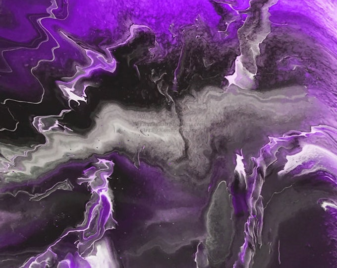 Lightning Series - Purple Black Downloadable Art Print Hand Painted Abstract Liquid Fluid Flow Art Dirty Pour Multiple File Sizes JPEG Files