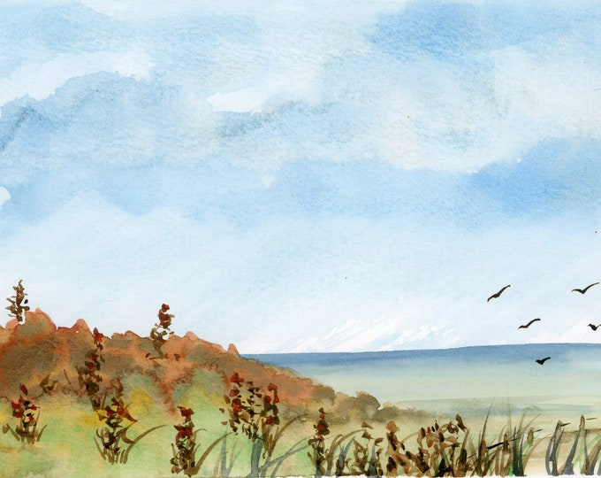 6x8 Original New Watercolor Lookout Point beach birds dunes water clouds one of a kind peaceful seascape landscape hand painted not a print