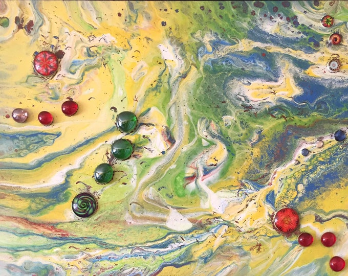 Embellished Jeweled Green Red Blue Multi Colored Original Acrylic Liquid Marble Dirty Pour Paint 14 x 11 Flow Art Flow Art