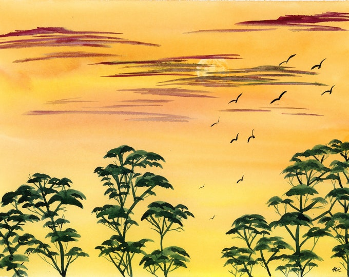 Safari Sunset original watercolor one of a kind 9x12 landscape soaring birds orange yellow sky silhouette trees hand painted red clouds