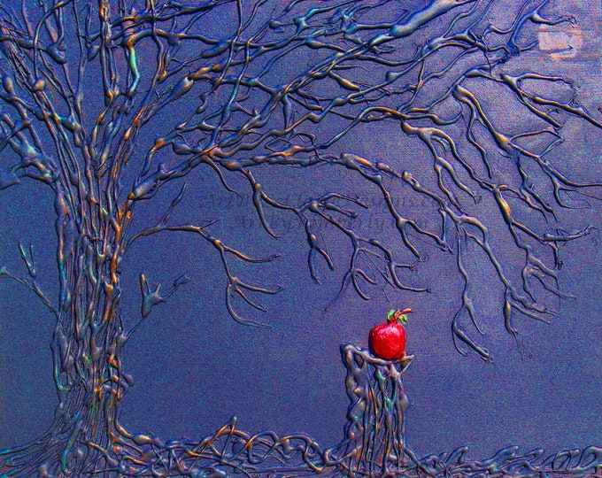 Poison Apple Tree 2 Blue Downloadable Art Print High Resolution Hand Painted Abstract Fairy Tale Series Glue Tree Acrylic Multiple JPEG File