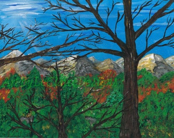 Forest Through the Trees - Hand Embellished Acrylic on Canvas Giclee 16 x 20 from Original Painting