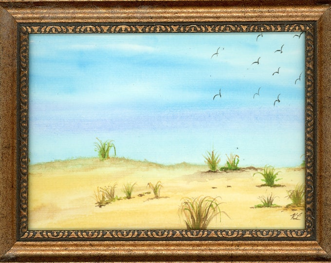 Watercolor New Plein Air Framed Original Hand Painted Landscape Signed Not A Print ArtByLeClaireDesigns Sand Dunes Birds Colorful Blue Sky