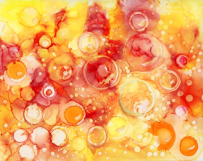Original Orange and Yellow Alcohol Ink Painting 8x10 one-of-a-kind ArtByLeClaireDesigns unframed abstract circles fluid flow art bubbles