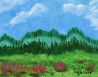 Green Meadow Landscape Hand Painted Original Acrylic Painting 8.5x11 Forest Blue Sky Fluffy Clouds Foggy Mountain Flowers Signed LeClaire