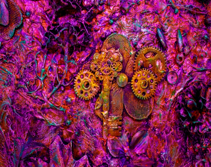 Keys and Gears Pink 3D Neon Downloadable Art Print Hand Painted Abstract Collage Steampunk Keys Recycled Art Multiple File Size JPEG Files