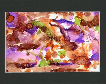 Abstract original alcohol ink brown and purple with white stippling effects.  New 4x6 artwork in 5x7 black mat ready to frame not a print