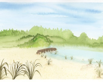 Fishing Dock Watercolor New Original LeClaire Hand Painted 8.5x5.5 Not A Print ArtByLeClaireDesigns