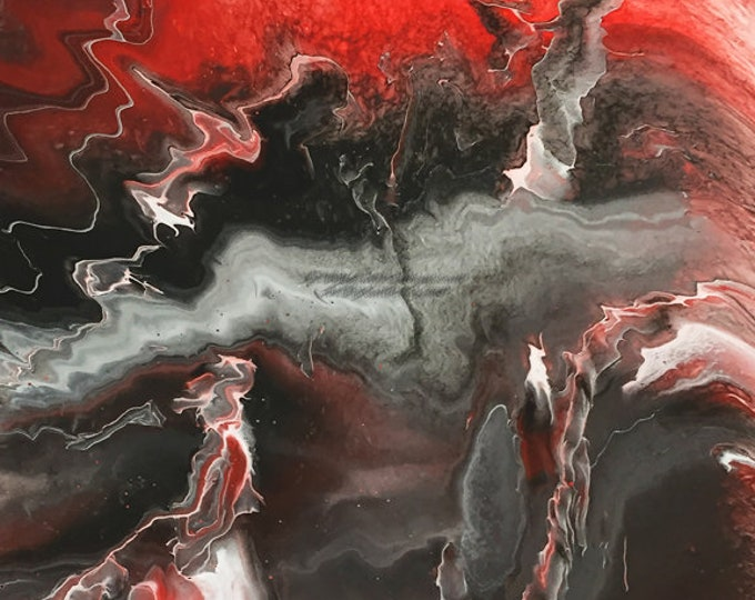 Lightning Series - Red - Black Downloadable Art Print Hand Painted Abstract Liquid Fluid Flow Art Dirty Pour Multiple File Sizes JPEG Files