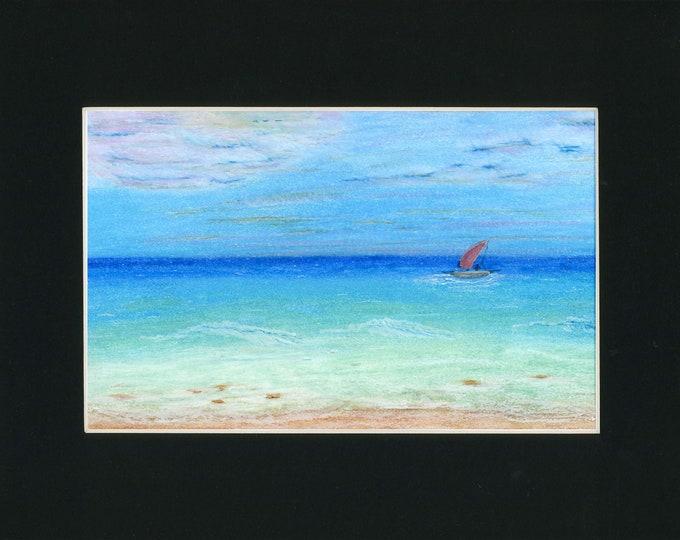 Turquoise Sailing Oil Pastel Painting one of a kind art 11x14 black mat original ocean blue sky sailboat beach waves clouds sailor peaceful