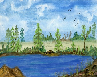 Downloadable Art Print - River Bank - High Resolution - Gouache Landscape Water Hand Painted - trees rocks reeds birds blue sky 5 file sizes
