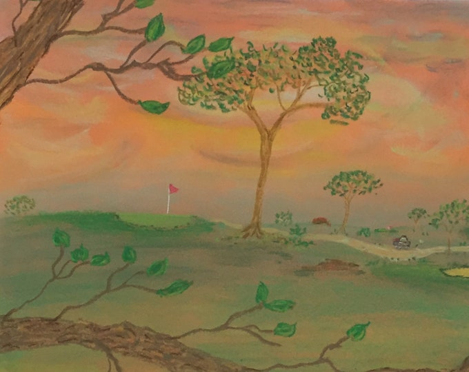 Sunrise at the Course Golf themed Pastel Painting Orange Sky Green Fairway Golf Gift 8.5x11