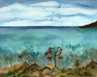 Tropical Stroll Digital Downloadable Art Print Hand Painted Watercolor Turquoise Water Dog Walker Ocean Birds Multiple High Resolution JPEG