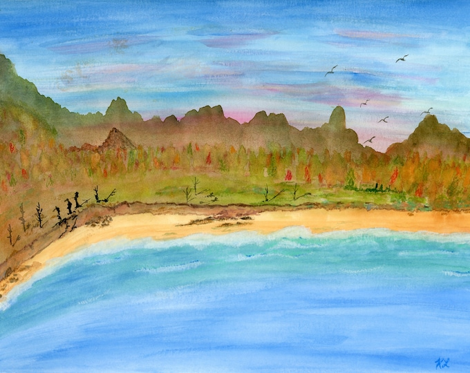 Autumn Coast 2 Watercolor Landscape Seaside Painting - one of a kind art 9x12 inch original not a print cliffs beach waves pink sky birds