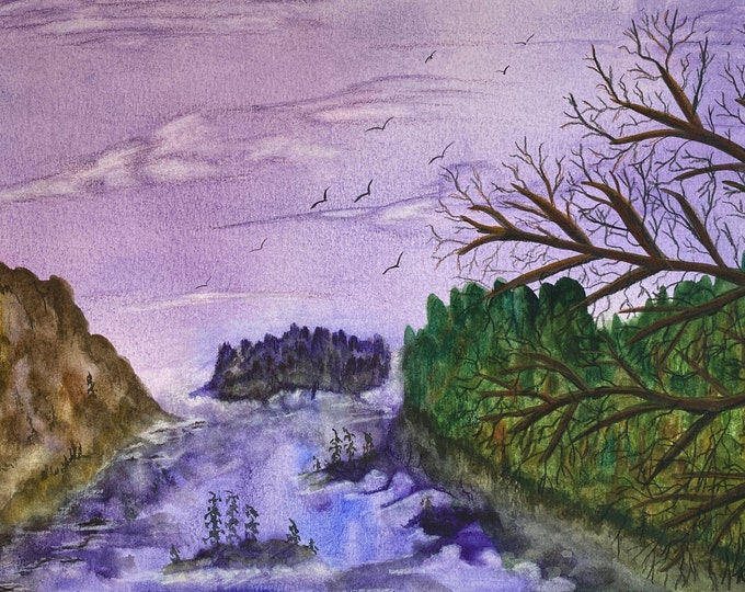 11x15 Fork in the River Purple signed original watercolor landscape hand painted rapids gorge canyon river valley purple sky Not a Print