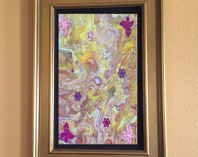 Embellished Original Liquid Poured 3-D Acrylic Painting - Yellow, Purple Butterfly Dirty Pour Orange, Mixed Colors  11 x 14 inches box frame