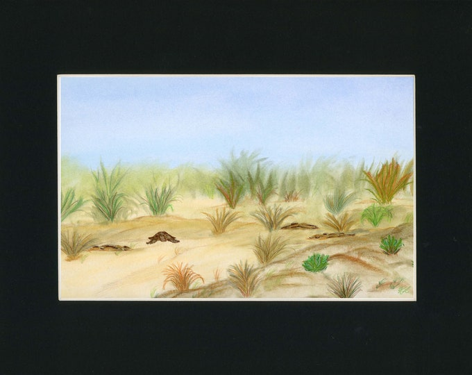 Sandy Turtle Pan Pastel Original New Art Sand Dune Scene LeClaire hand painted Not a Print ArtByLeClaireDesigns Soft Peaceful Landscape