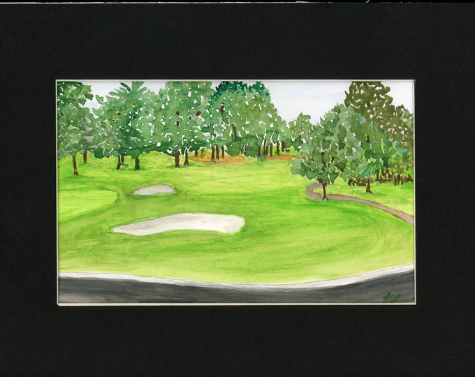 Watercolor Golf Santa Maria Country Club Hole 18 in 8.5x11 black mat new original ready to frame not a print bunker fairway pine trees golf