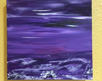 Purple Ocean Sunset Original Acrylic Painting 8x8 inch wrapped box canvas tiny art under 5 dollar waves purple shades hues painted all sides
