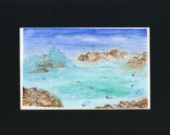 Sparkly Foam Watercolor New Original LeClaire Hand Painted Not A Print ArtByLeClaireDesigns Black Mat 8.5x11 Turquoise Ocean Water Rocks