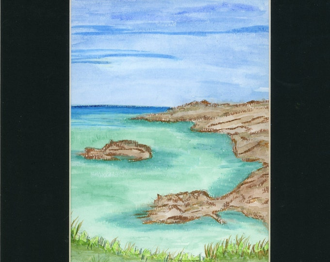Emerald Cove Watercolor New Original LeClaire Hand Painted Not A Print ArtByLeClaireDesigns Black Mat 8.5x11 Ocean Water Rocks Turquoise