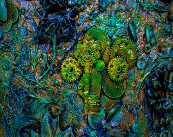 Keys and Gears Turquoise 3D Neon Downloadable Art Print Hand Painted Abstract Collage Steampunk Keys Recycled Multiple File Size JPEG Files