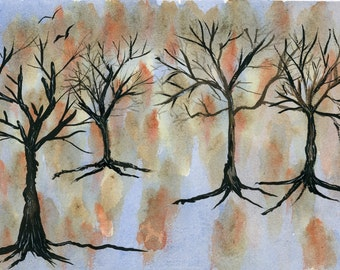 Abstract Trees New Watercolor Birds Autumn Landscape 5x8 inch hand painted original not a print random colors on 7x10 inch paper barren tree