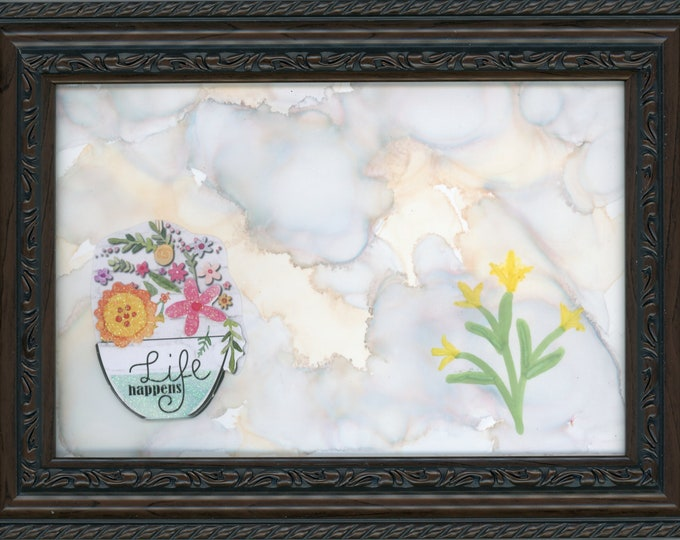 Life Happens Original Alcohol Ink Painting ArtByLeClaireDesigns 5x7 framed abstract air brush art desk size one-of-a-kind clouds and flowers