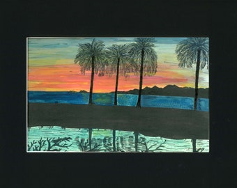Hawaii Sunset Landscape Hand Painted Original on a Print of Pen and Ink Painting done in the 80's one of a kind art 11x14 black mat retro
