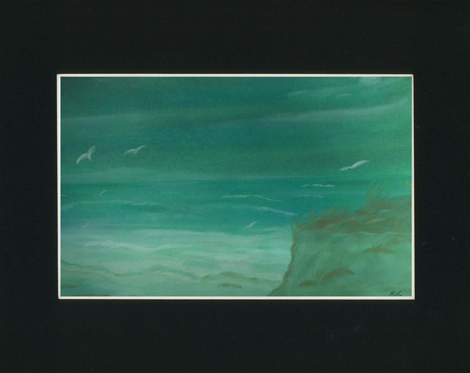 Emerald Shore - Pastel Painting - one of a kind art 11x14 inches beach artwork original new artist soft green colors shoreline landscape
